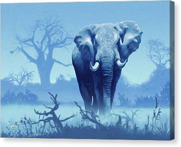 Misty Morning In The Tsavo Canvas Print