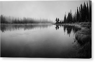 Misty Morning On Reflection Lake Canvas Print by Brian Xavier