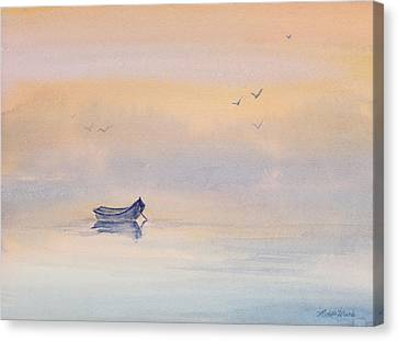 Misty Morning Peace Watercolor Painting Canvas Print by Michelle Wiarda