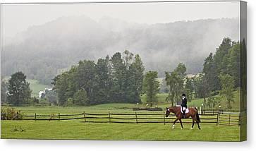 Misty Morning Ride Canvas Print