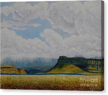 Misty Mountain Canvas Print by Caroline Street