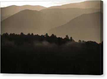 Misty Mountain Morning In Tennessee Canvas Print by Dan Sproul