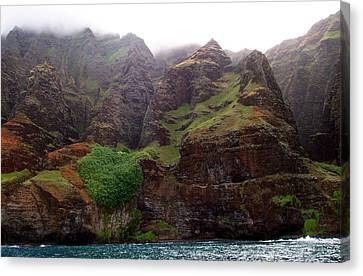 Canvas Print featuring the photograph Misty Na Pali Coastline by Amy McDaniel