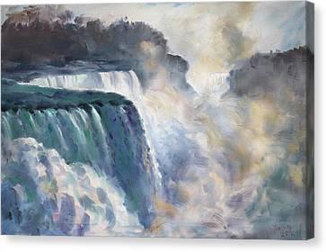 Waterfalls Canvas Print - Misty Niagara Falls by Ylli Haruni
