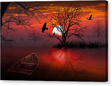 Boats In Water Canvas Print - Misty Red Sunrise With Ravens by Randall Nyhof