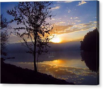 Canvas Print featuring the photograph Misty Reflections by David Dehner