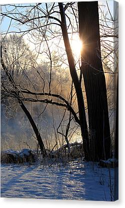 Misty River Sunrise Canvas Print by Hanne Lore Koehler