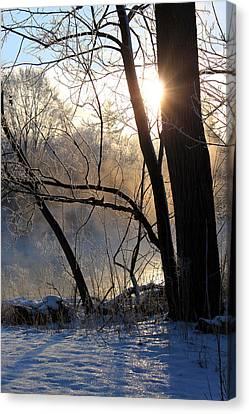 Misty River Sunrise Canvas Print by Hanne Lore Koehler
