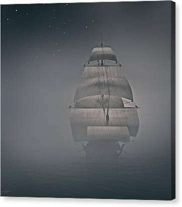 Misty Sail Canvas Print by Lourry Legarde