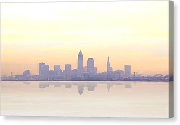 Misty Sunrise In Cleveland Canvas Print by Kitty Ellis