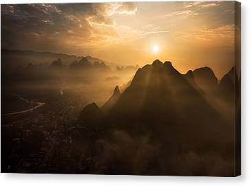 Haze Canvas Print - Misty Sunrise by Nadav Jonas