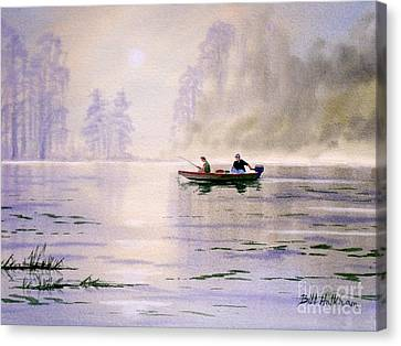Misty Sunrise On The Lake Canvas Print