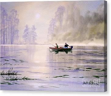 Misty Sunrise On The Lake Canvas Print