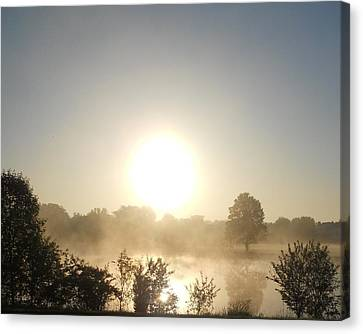 Canvas Print featuring the photograph Misty Sunrise by Teresa Schomig
