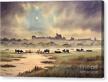 Misty Sunrise - Windsor Meadows Canvas Print by Bill Holkham