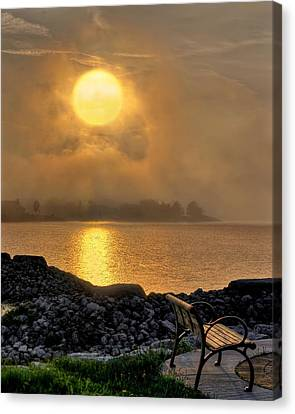 Misty Sunset At The Bay Canvas Print
