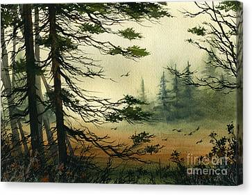 Misty Tideland Forest Canvas Print by James Williamson