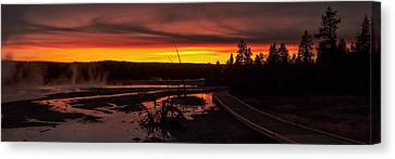 Canvas Print - Misty Vapors In The Sunset - Yellowstone National Park by R J Ruppenthal