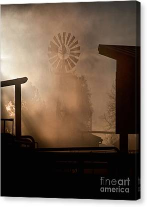 Canvas Print featuring the photograph Misty Windmill by Steven Reed