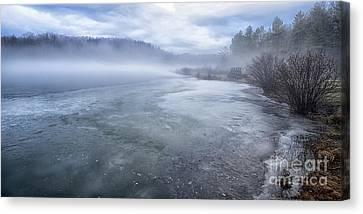 Misty Winter Morning On Lake Canvas Print by Thomas R Fletcher