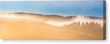 Canvas Print featuring the photograph Misty Yellowstone   by Lars Lentz