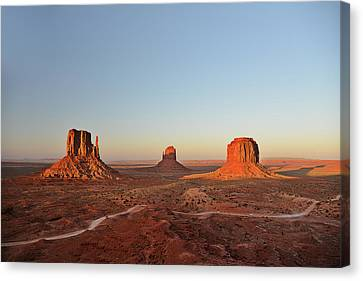 Mittens And Merrick Butte Monument Valley Canvas Print by Christine Till