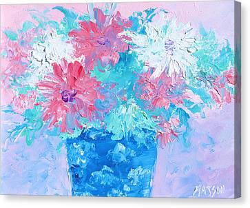 Mixed Chrysanthemums In Blue Vase Canvas Print by Jan Matson