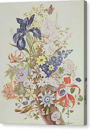Mixed Flowers In A Cornucopia Canvas Print