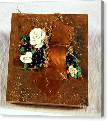 Mixed Media Flower Garden Canvas Print by P Russell