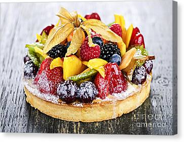 Bakery Canvas Print - Mixed Tropical Fruit Tart by Elena Elisseeva