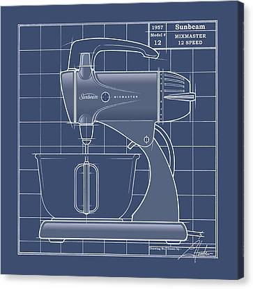 Mixmaster - Blueprint Canvas Print by Larry Hunter