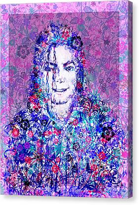 Thriller Canvas Print - Mj Floral Version by Bekim Art