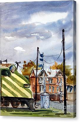 Mkt Train And Travellers Hotel Denison Tx Canvas Print by Ron Stephens