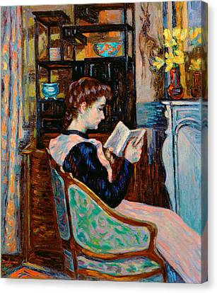 Mlle Guillaumin Reading Canvas Print by Jean Baptiste Armand Guillaumin
