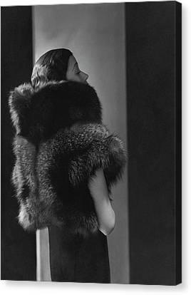 Mlle. Koopman Wearing A Fur Jacket Canvas Print by George Hoyningen-Huene