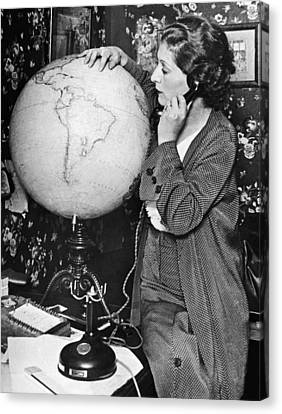 Concentration Canvas Print - Mme. Costes With Globe by Underwood Archives
