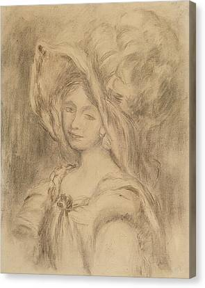 Mme Dieterle In A Hat, C.1896 Charcoal On Paper Canvas Print