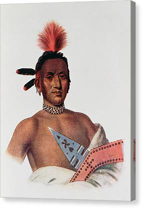 Moa-na-hon-ga Or Great Walker, An Iowa Chief, 1824, Illustration From The Indian Tribes Of North Canvas Print