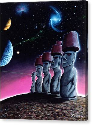 Moai On The Small Planet Canvas Print