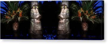 Moai Silver Canvas Print by Gunter Nezhoda