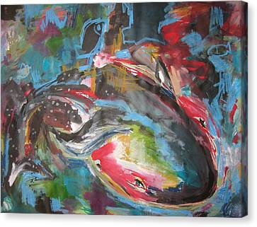 Mobie Joe The Whale-original Abstract Whale Painting Acrylic Blue Red Green Canvas Print by Seon-Jeong Kim