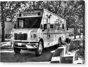 Police Officer Canvas Print - Mobile Command Center Bw by Mel Steinhauer