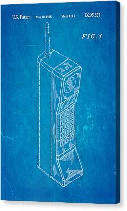 Mobile Phone Patent Art 1988 Blueprint Canvas Print by Ian Monk