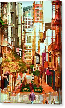 Mocca On Maiden Lane Canvas Print by Bill Gallagher