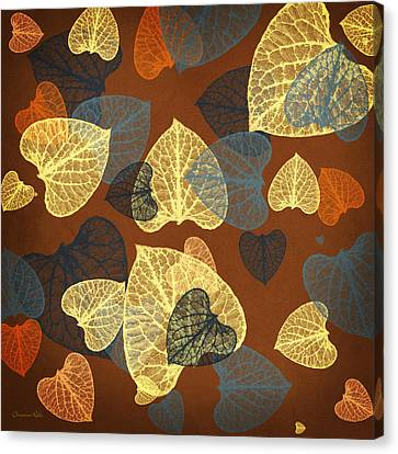 Mocha Abstract Leaves Square Canvas Print