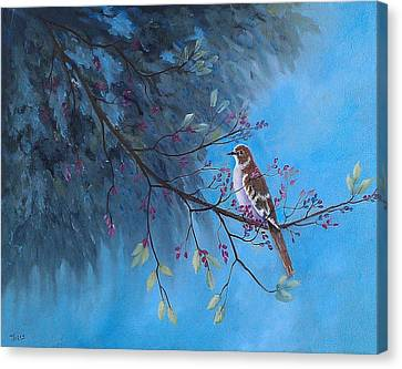Canvas Print featuring the painting Mockingbird Happiness by Suzanne Theis