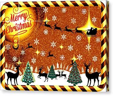 Mod Cards - Reindeer Games - Merry Christmas V Canvas Print by Aurelio Zucco