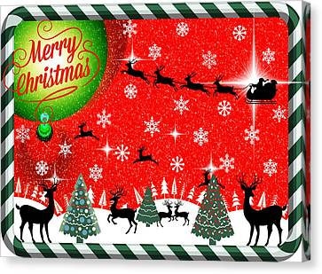 Mod Cards - Reindeer Games - Merry Christmas Canvas Print by Aurelio Zucco
