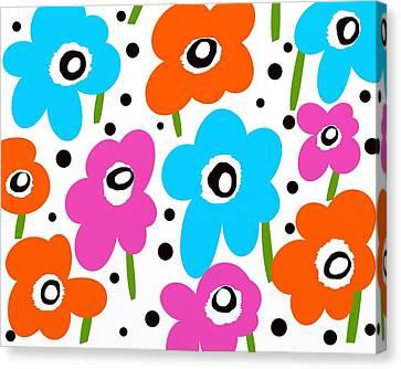 Fuschia Canvas Print - Mod Dot Flowers by Marlene Kaltschmitt