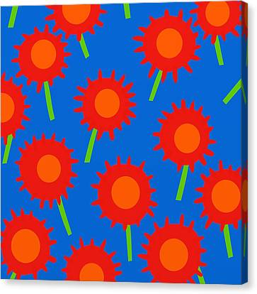 Fuschia Canvas Print - Mod Spiky Flowers by Marlene Kaltschmitt